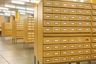 Library wooden card catalog