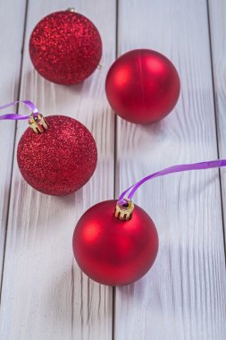 Composition of red christmas baubles