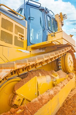 Close up  view on bulldozer