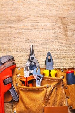 Construction tools in tool belt