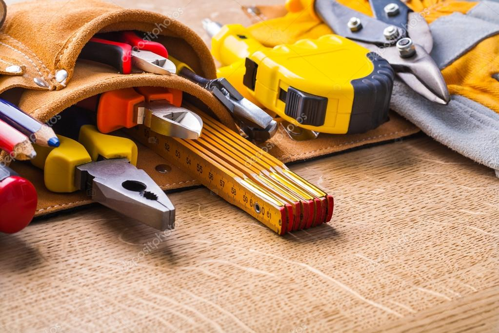 Construction tools in tool belt