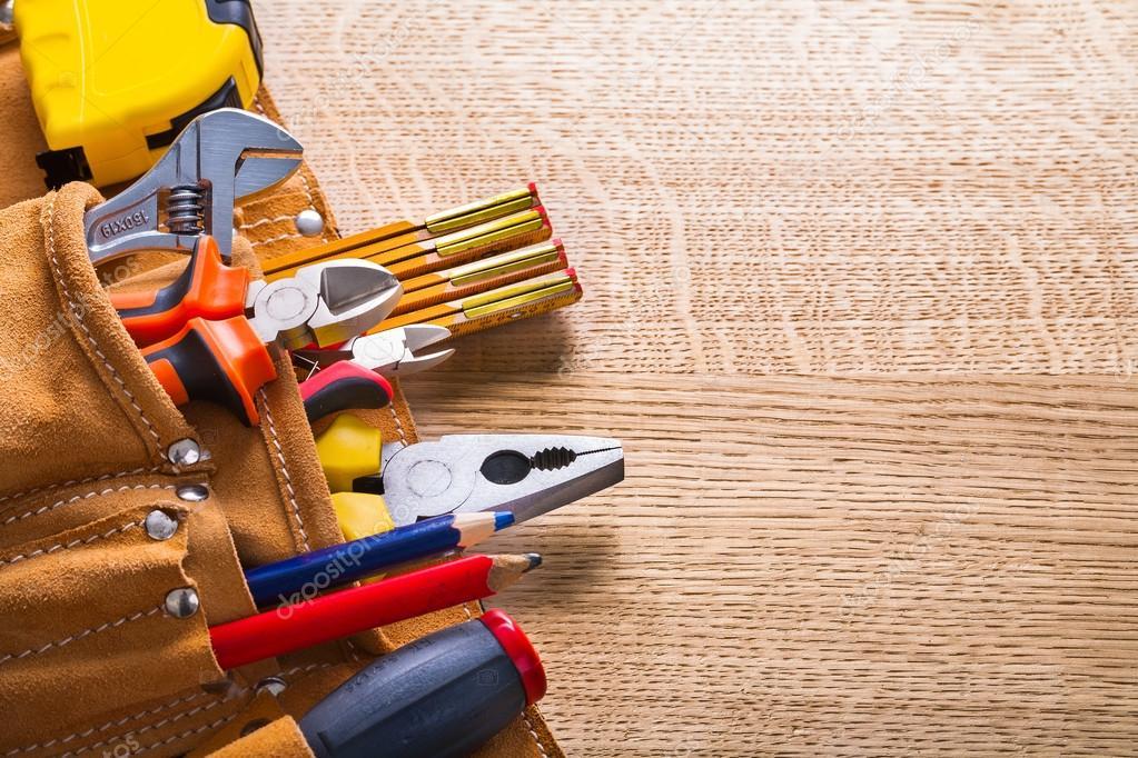 Set of tools in tool belt