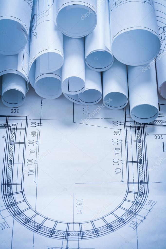 Variedad de rollos de blueprint fotos de stock mihalec 73634989 variety of blueprint rolls construction concept foto de mihalec malvernweather Image collections