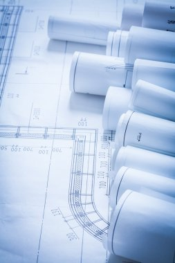 Set of architecture construction drawings