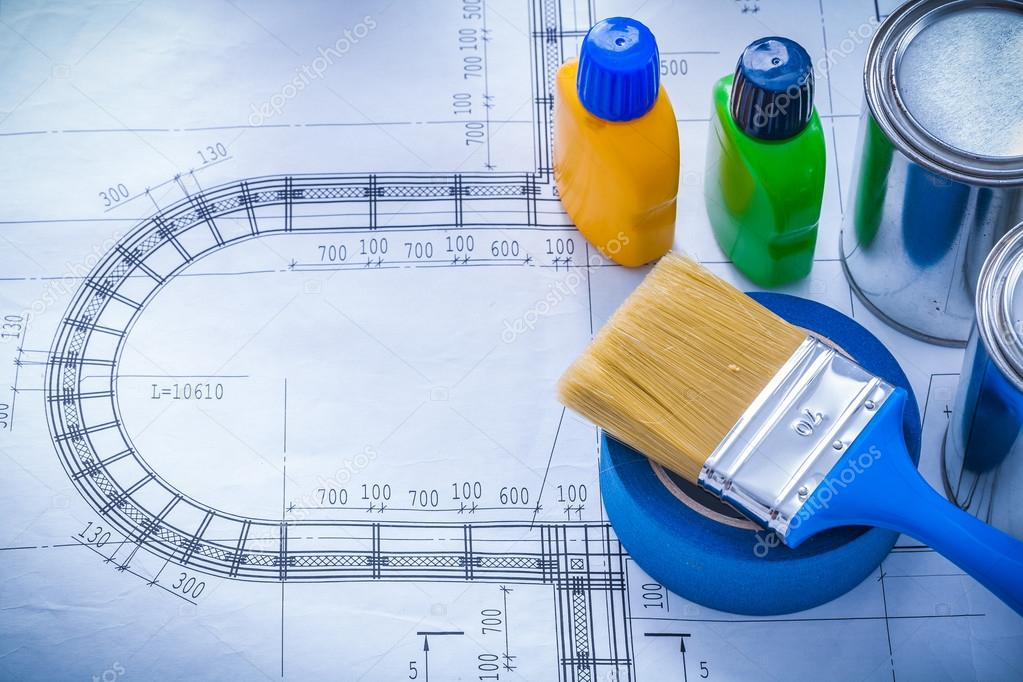 Blueprint with paint brush stock photo mihalec 76429911 blueprint with paint brush stock photo malvernweather