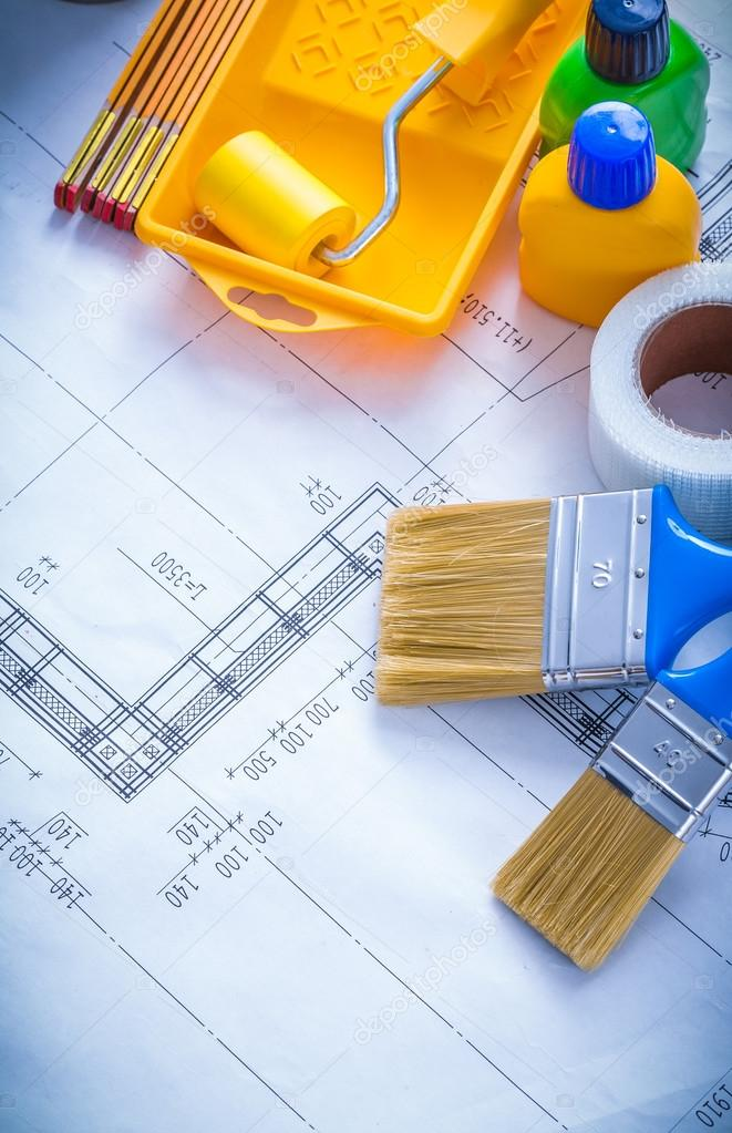 Construction plan with paint roller