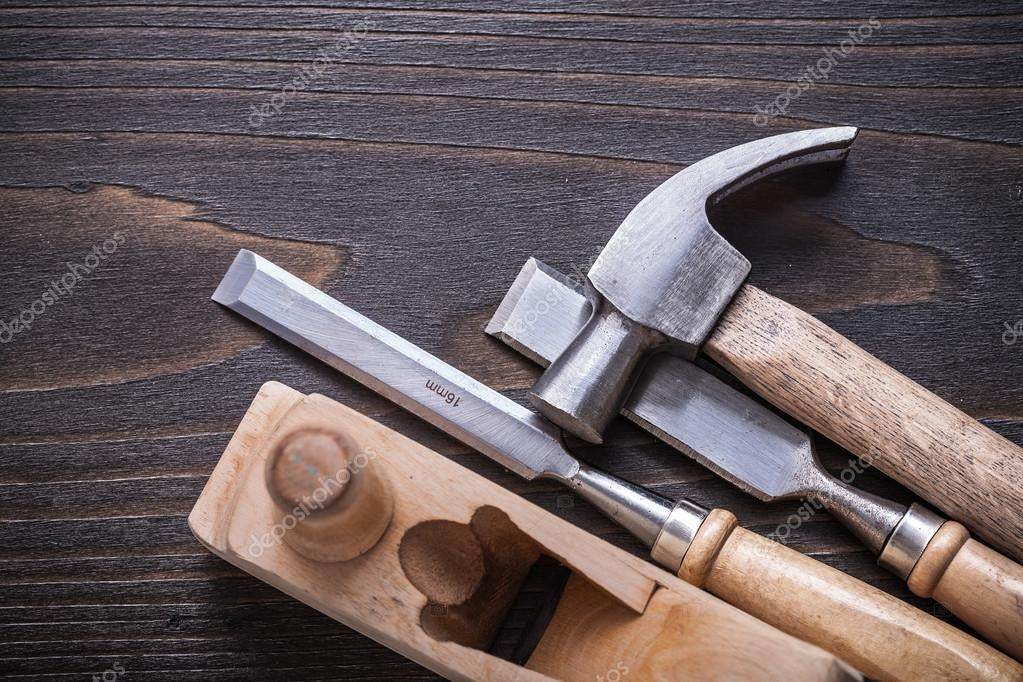 Claw hammer, planer and firmer chisels