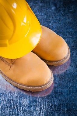 Safety working boots and hard hat