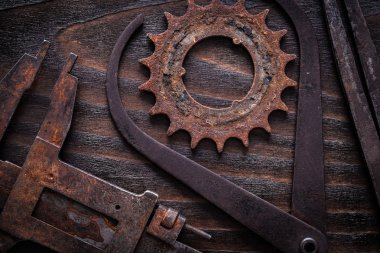 rusty measuring calipers with cog- wheel