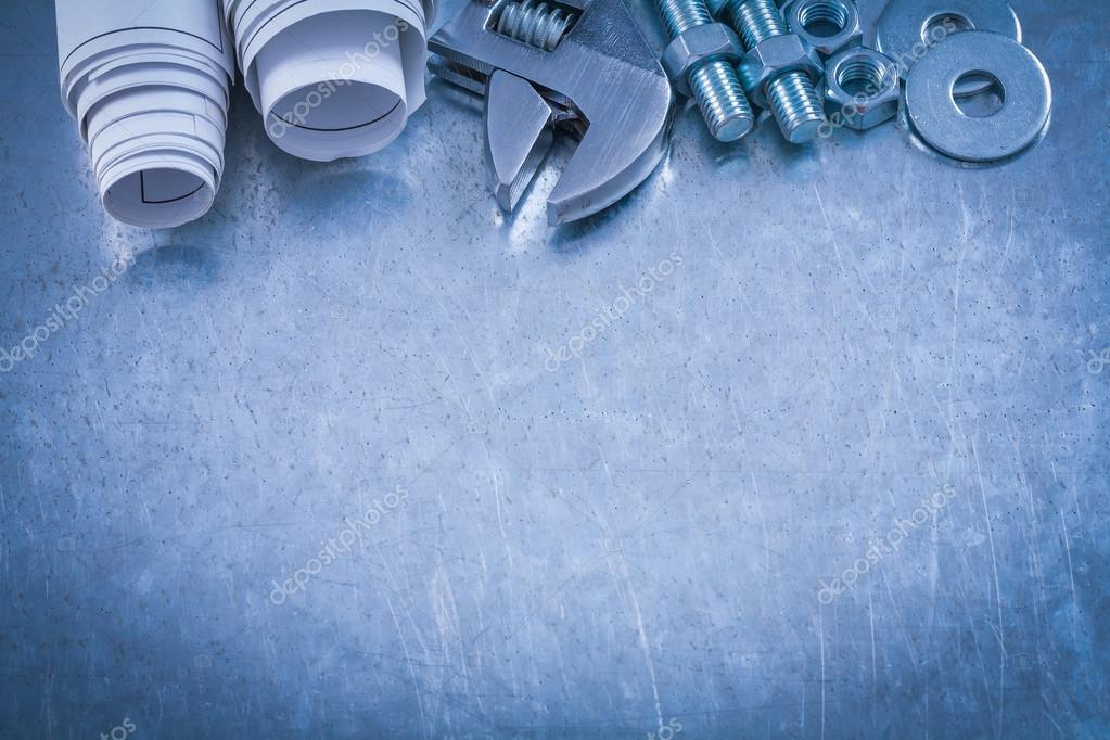wrench, bolt washers, nuts, screwbolts