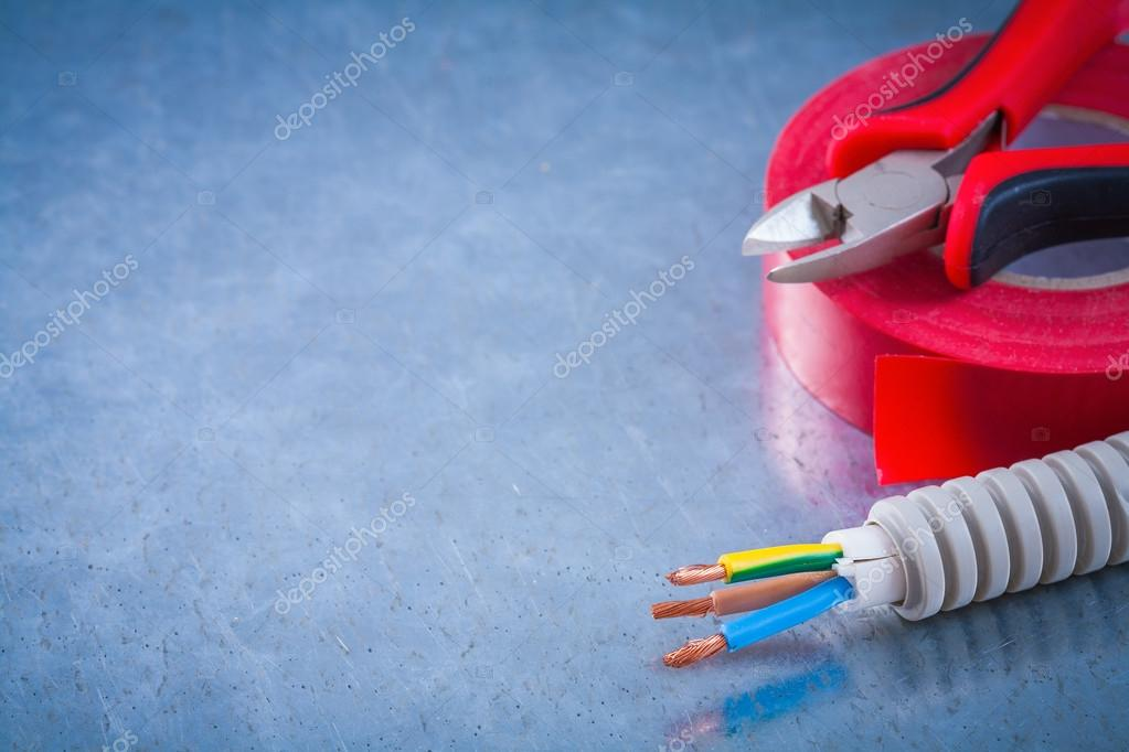 nippers, electric wires and insulating tape — Stock Photo © mihalec ...