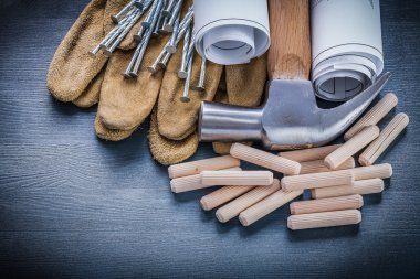dowels hammer blueprints nails gloves