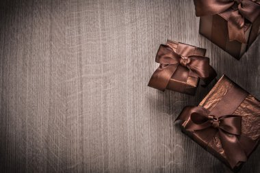 Gift boxes wrapped in glittery paper