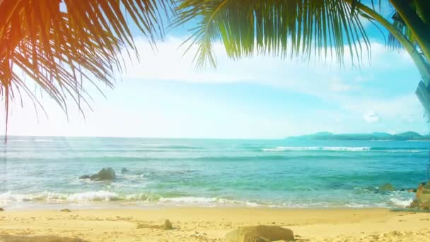 Thailand. Phuket Island. Sunny beach with palm trees without people