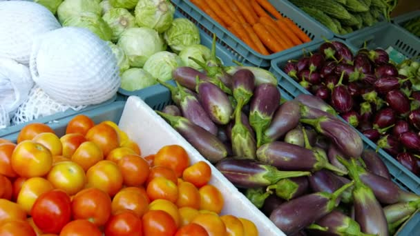 Čerstvě sklizená zelenina zobrazená na veřejném trhu