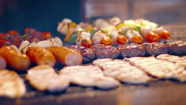 Variety of Delicious. Turkish Foods on a Street Vendors Barbecue Grill