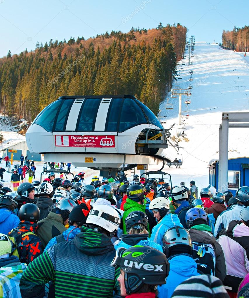 crowded ski resort, bukovel – stock editorial photo © joyfull #124209472