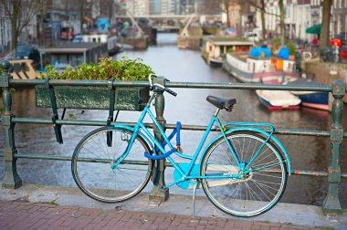 Bycicle on the bridge in Amsterdam