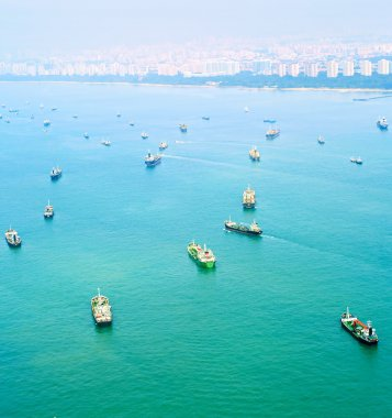 Ships in Singapore harbor