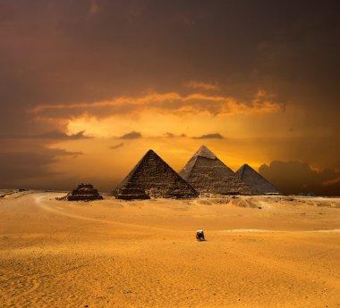 pyramids with a beautiful sky of Giza