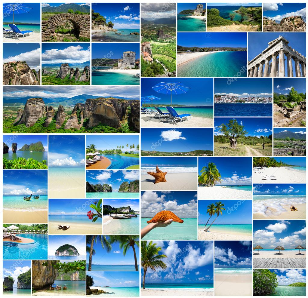 Collage of summer beach