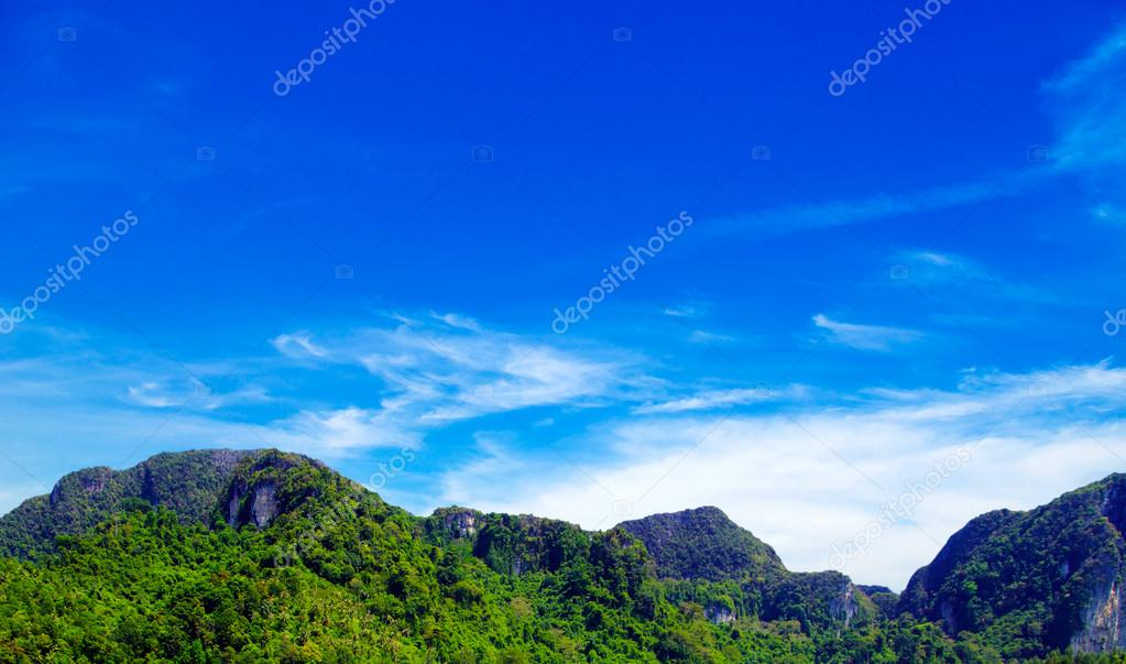 Tropical Mountain with blue sky