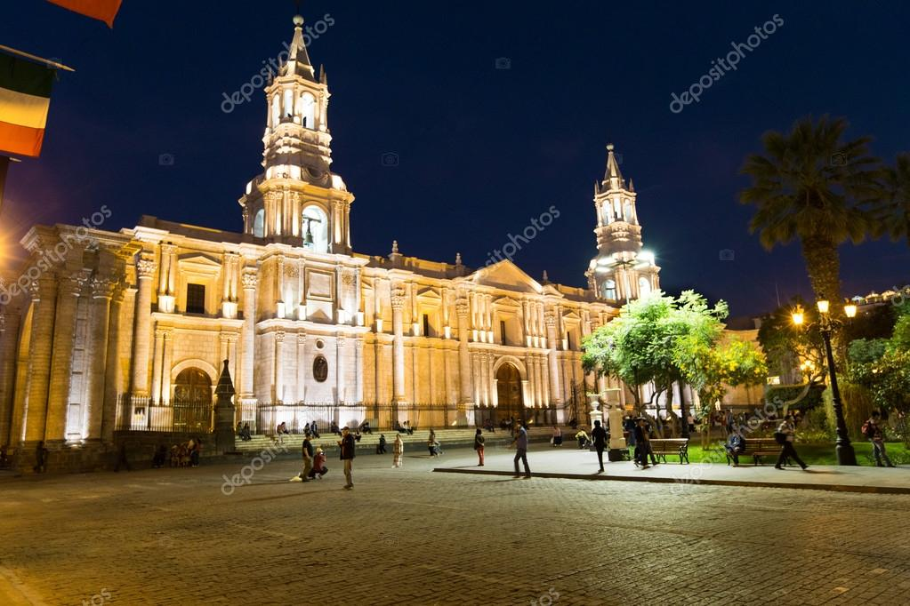 Arequipa, Peru: View of the Cathedral main church