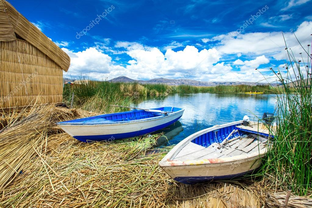 Boats on the shore of Titicaca lake