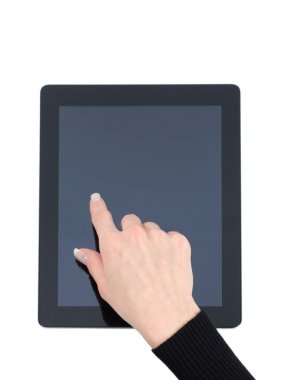 female hand holding tablet