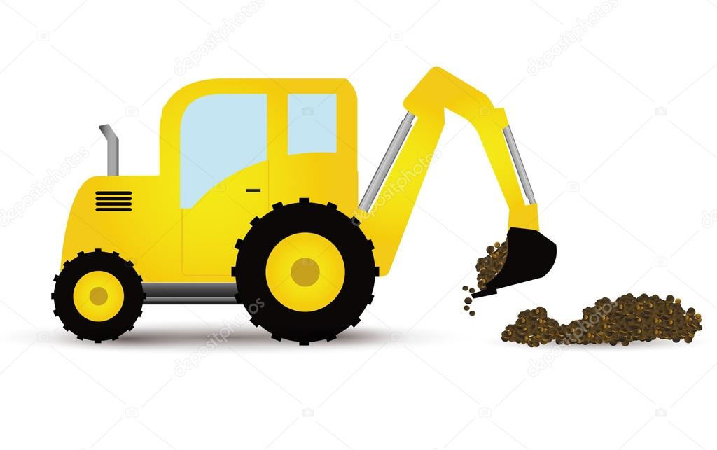 Yellow Tractor Clip Art : Yellow tractor on white — stock vector puhfoto
