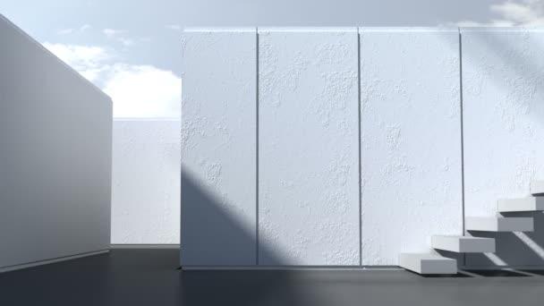 Moderní architektura. Exteriér, terasu, schodiště s bílými zdmi a slunečního záření