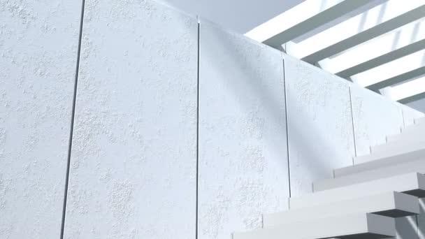 A modern építészet. Külső, belső udvarra nyílik, lépcsők, fehér falakkal és napfény