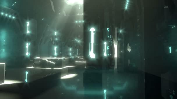 Science fiction futuristický interiér umožňují lehké dveře
