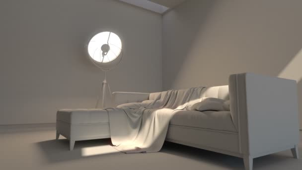 Modern interior. Contemporary architecture space animation with sofa