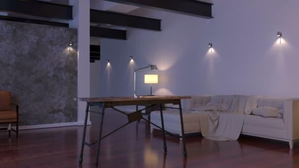 Modern belső terekkel. Kortárs építészet térben animáció és kanapéval