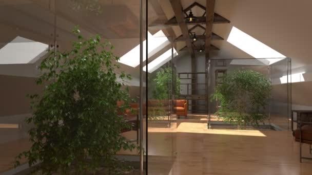 Modern belső terekkel. Eco home, zöld ház. Kortárs építészet térben animáció a kanapé és a zöld növények