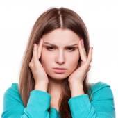 Fényképek Nő, fejfájás, migrén, stressz, álmatlanság, másnaposság
