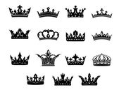 Black and white royal crowns set