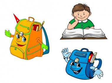 Colorful cartoon boy with book and school backpacks