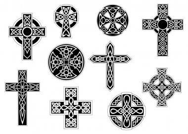 Black and white decorative celtic crosses
