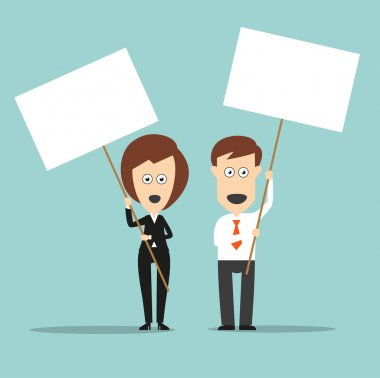 Business colleagues holding sign boards with copyspace