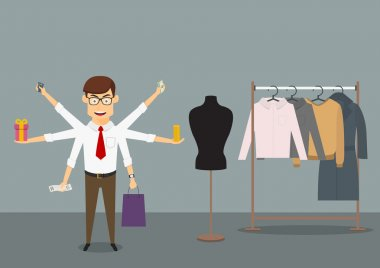 Multitasking businessman shopping in clothes store