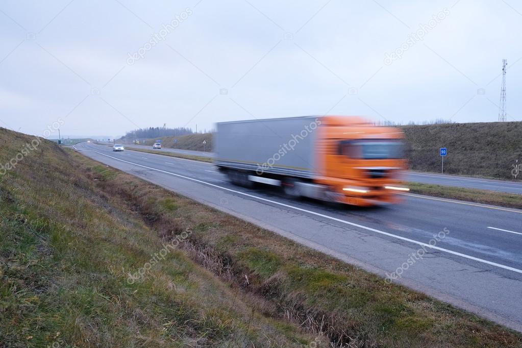 truck in movement