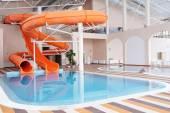 Swimming pool and aqua park in a resort hotel