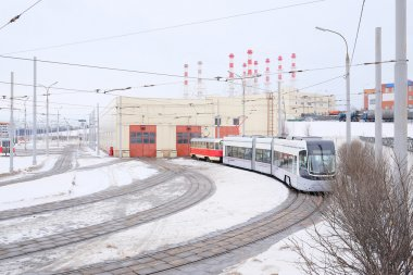 Tramway depot in winter in Moscow