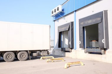 Truck are loaded at the warehouse