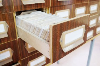Drawers with catalog cards in library