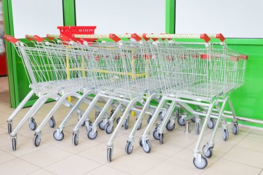 Shopping carts on car park