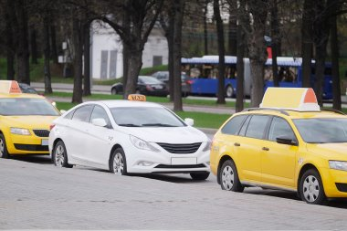 Taxi parking on  Sparrow Hills in Moscow