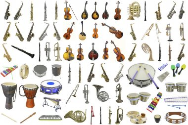 Set of musical instruments under the white background